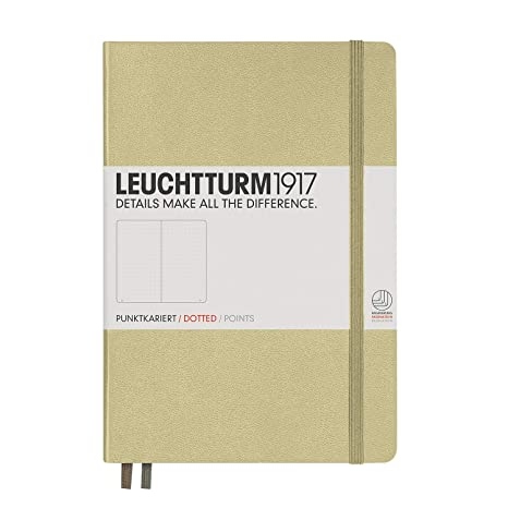 Leuchtturm1917 Medium A5 Dotted Hardcover Notebook [Sand] - 249 Numbered Pages