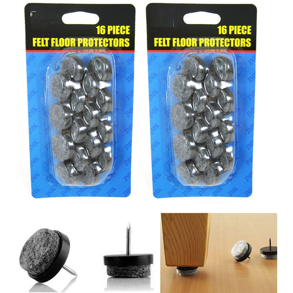 32 Pc Furniture Table Chair Leg Floor Felt Pad Skid Glide Slide Nail  Protector     Amazon.com