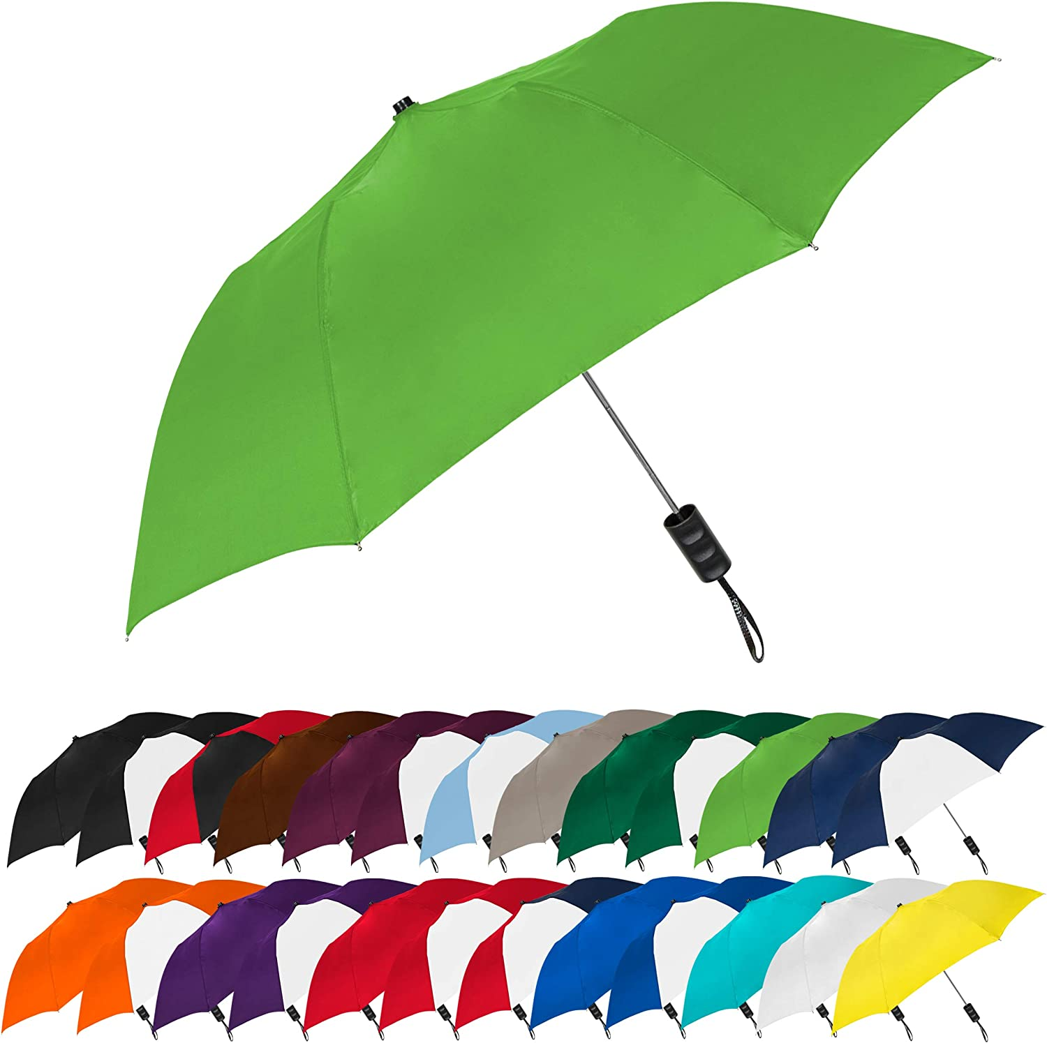 STROMBERGBRAND UMBRELLAS Spectrum Popular Style Automatic Open Close Small Light Weight Portable Compact Tiny Mini Travel Folding Umbrella for Men and Women, Lime Green
