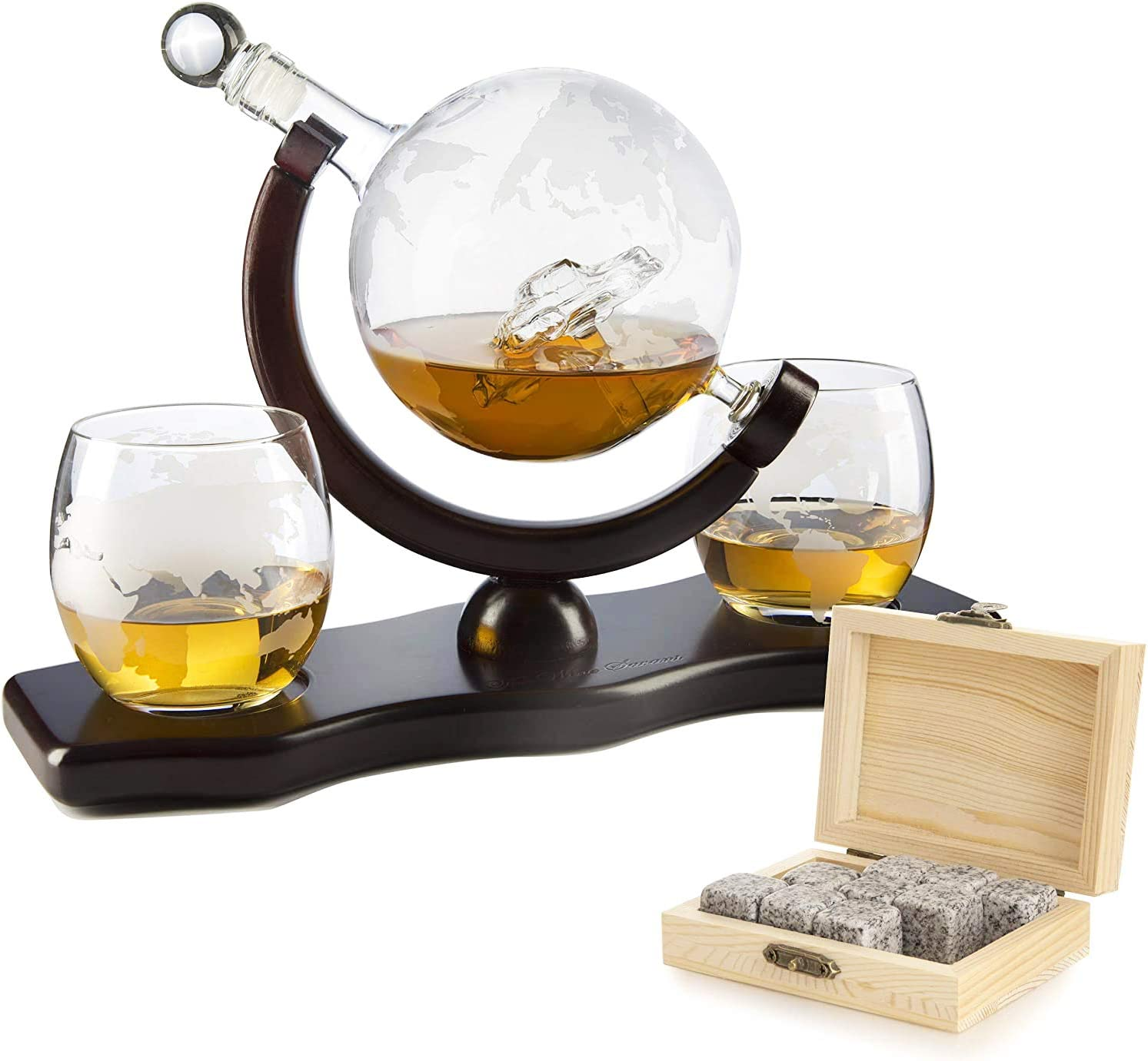 The Wine Savant Globe Car Whiskey Decanter - With 2 Globe Glasses, Includes Whiskey Stones For Whiskey, Scotch, Bourbon or Wine Matching Globe Glasses, HOME BAR DECOR