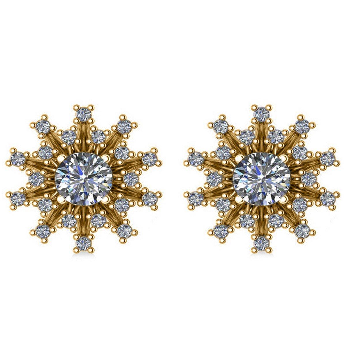 e3d41f2e1 Amazon.com: Diamond Sunburst Earrings 14k Yellow Gold (1.40ct): Jewelry