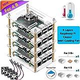 iUniker Raspberry Pi 4 Cluster Case, Raspberry Pi 4 Case with Cooling Fan and Raspberry Pi 4 Heatsink for Raspberry Pi 4 Model B, 3 B+, Pi 3 B, Pi 2 B, Pi B+ (4-Layers)