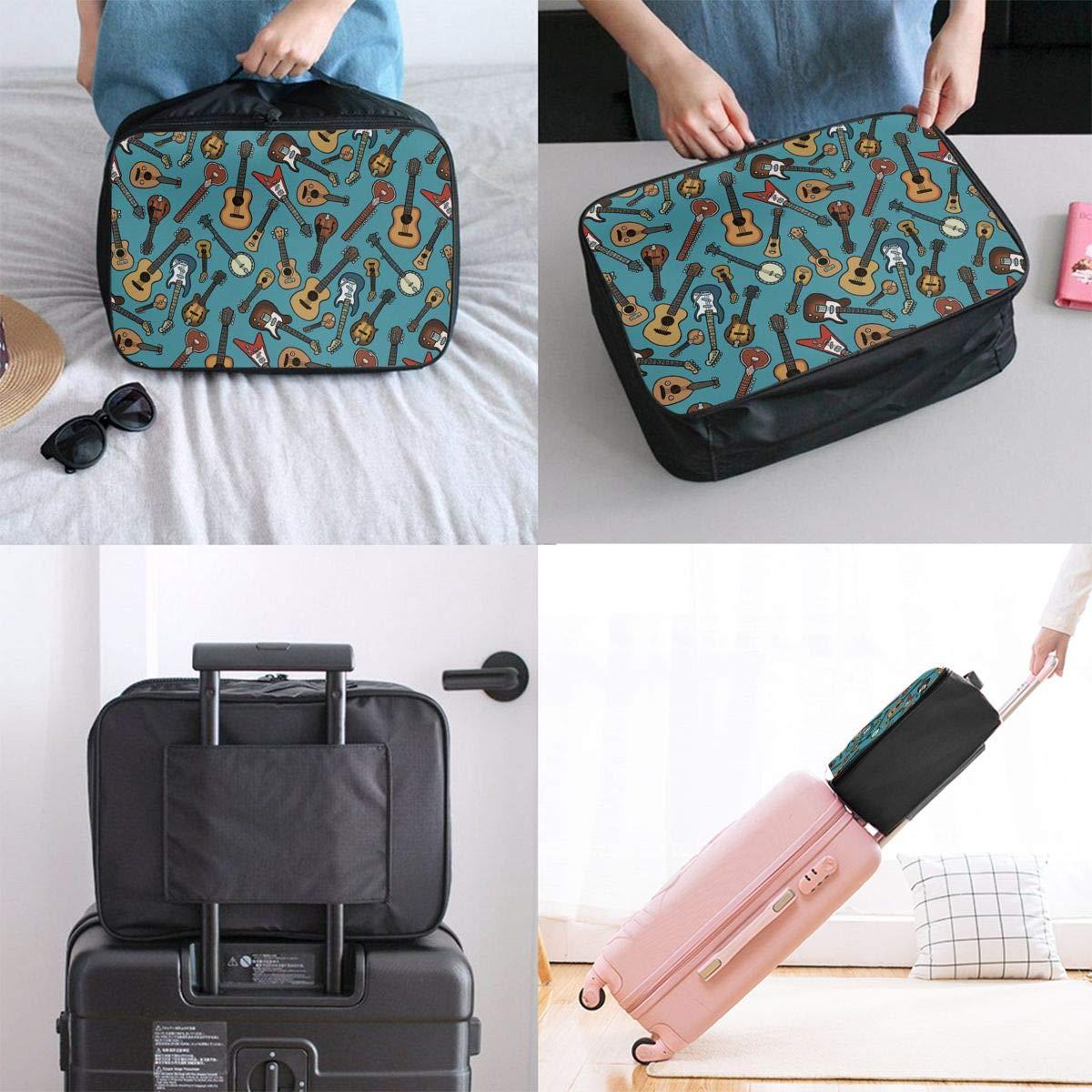 Guitars Pattern Travel Duffle Bag Large Lightweight Weekend Bags Nylon Luggage Hanging Bag Waterproof Luggage Duffel Bag In Trolley Handle For Sports Gym