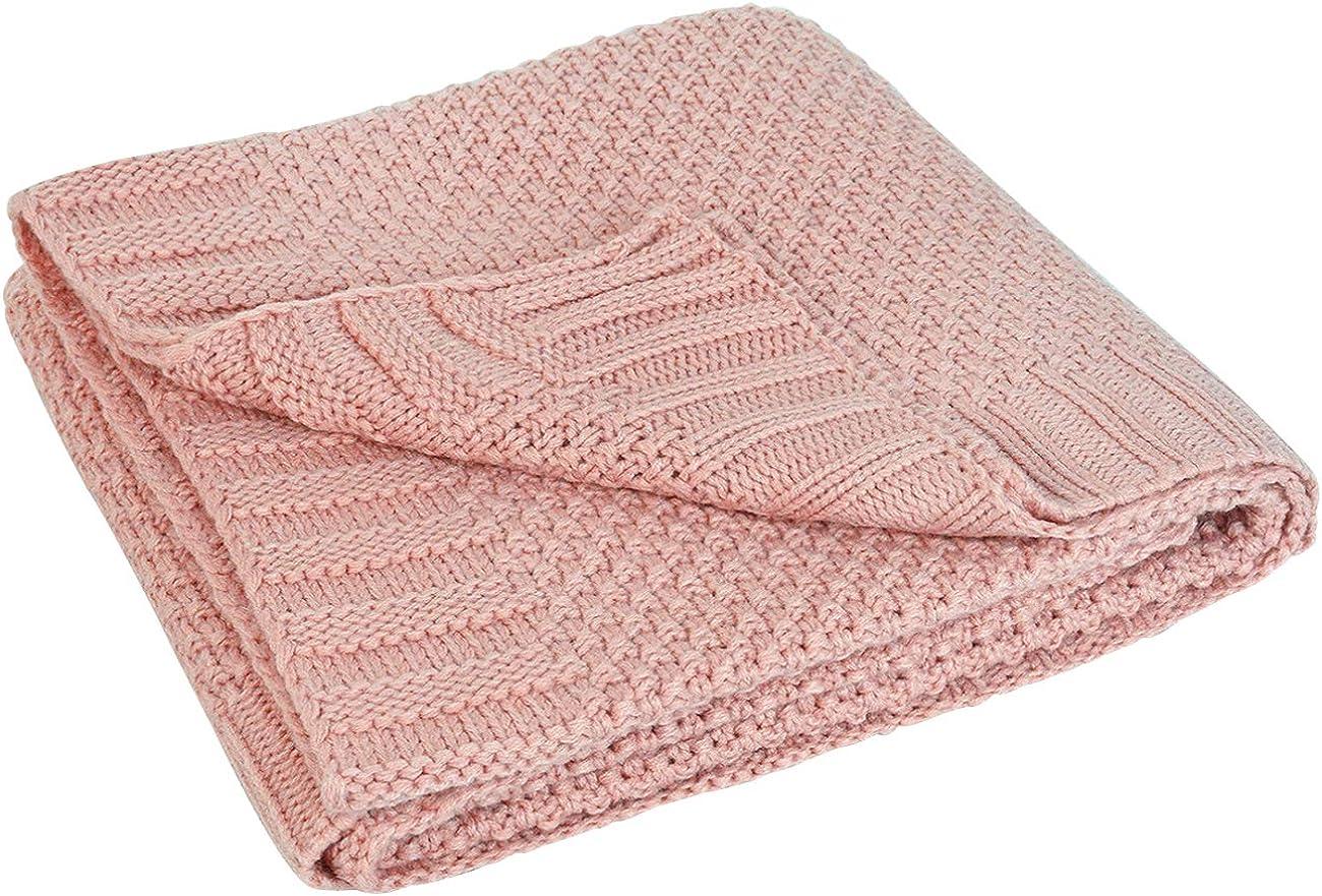 L'VOW Knit Baby Blanket Swaddle Wrap Warm Stroller Blankets for Newborn or Infant