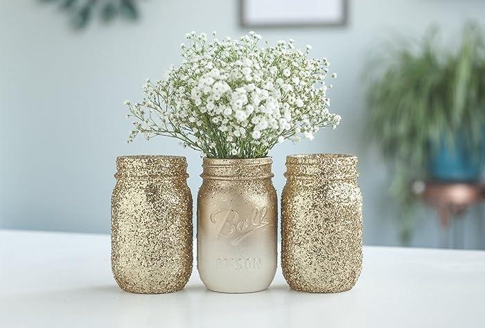 gold vases glittered mason jars gold home decor glod bridal shower new