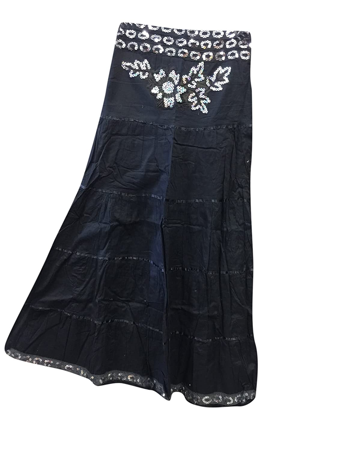 Mogul Interior Bohemian Gothic Skirts Black Sequin Gypsy Flirty Long Maxi Skirts , Gift For Her