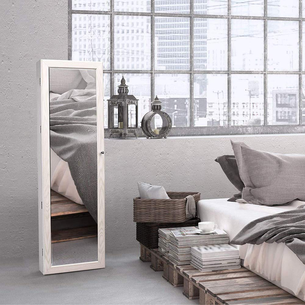 TWING Jewelry Armoire Jewelry Organizer Wall Mounted Lockable 6 LEDs Wall Mounted Jewelry Armoire with Mirror 3 Drawers Door Large Jewelry Armoire Cabinet White