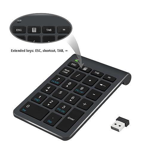 Pavé numérique Alcey Clavier Numérique sans-fil de 22 touches avec Mini récepteur USB 2.4G pour iMac, MacBook, ordinateur de bureau et portable - noir