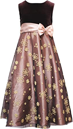 Amazon Com Rare Editions Girls 7 16 Brown Gold Caviar Beaded Velvet Mesh Overlay Special Occasion Wedding Flower Girl Christmas Holiday Party Dress 16 Rre 18688h H418688 Clothing