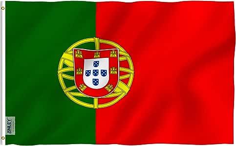 Anley Fly Breeze Bandera de Portugal de 3x5 pies - Color Vivo y Resistente a la decoloración UV - Encabezado de Lienzo y Doble Costura - Banderas Nacionales portuguesas Poliéster con Ojales: