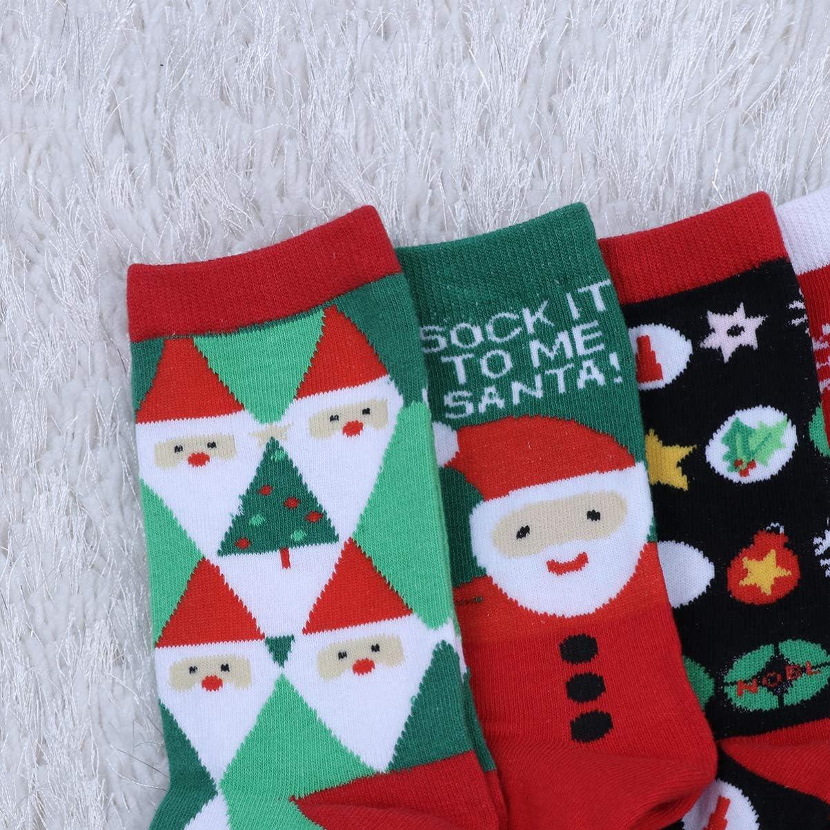 calcetines suaves y c/álidos de invierno para mujer con patr/ón de Navidad en 3D para llevar en casa fiesta navide/ña QKURT 6 pares de calcetines navide/ños