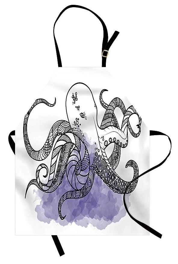 Delantal de pulpo, dibujo de arte lineal, criatura marina con ...