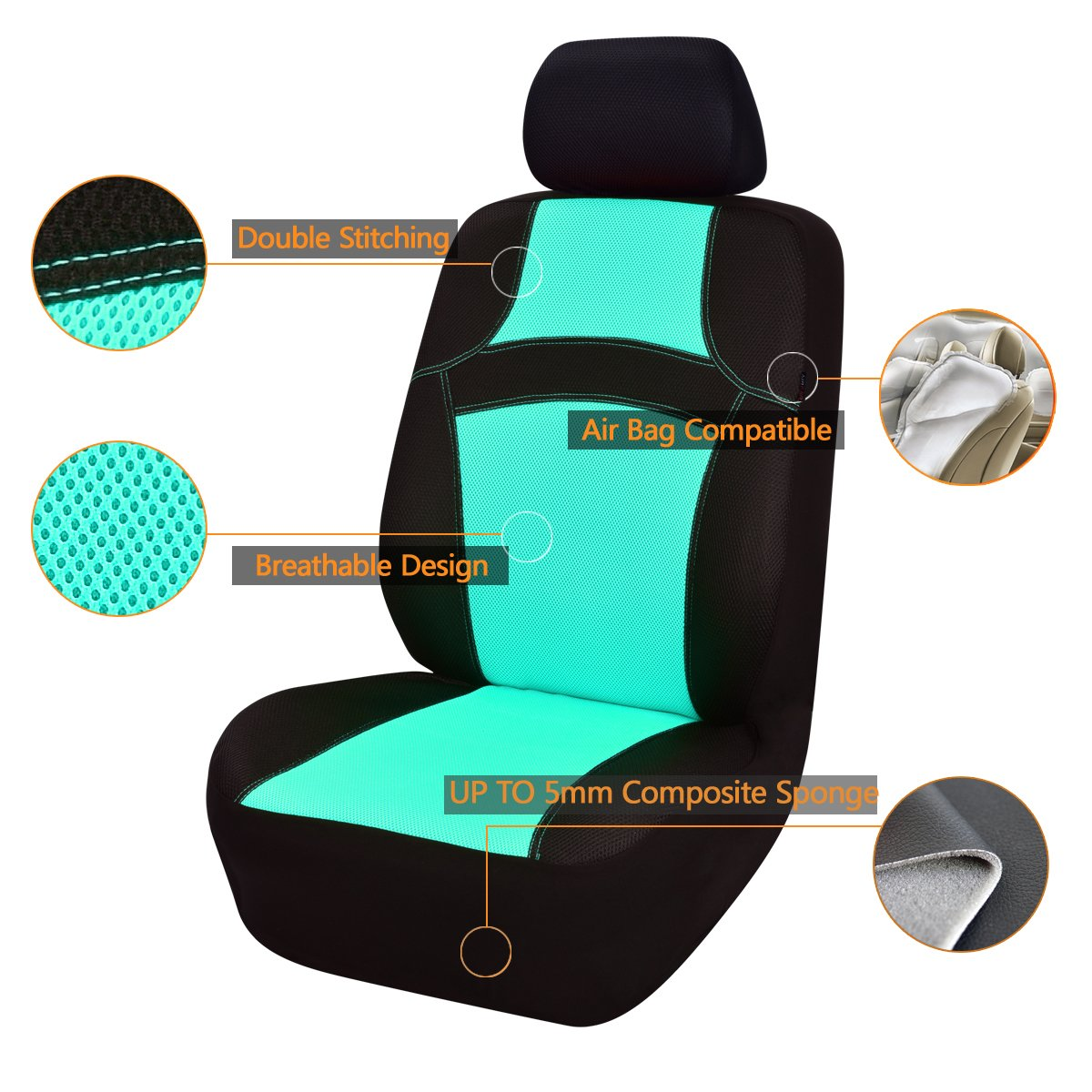 14pcs, Water blue 100/% Breathable With 5mm Composite Sponge Inside,Airbag Compatible CAR PASS RAINBOW Universal Fit Car Seat Cover NEW ARRIVAL