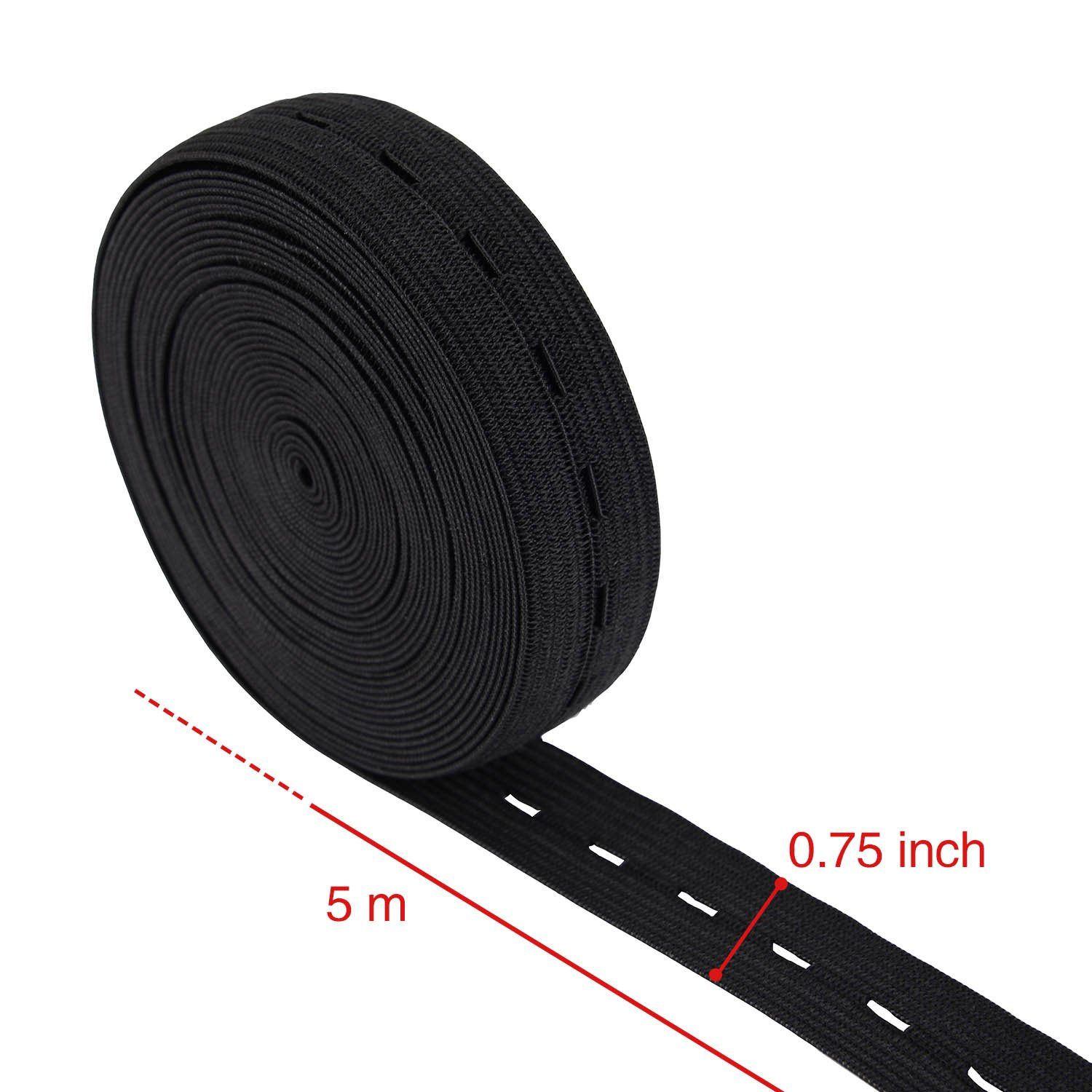 Outus 11 Yard Elastic Bands Spool Sewing Band Flat Elastic Cord with Buttonhole 2 Pack 5.5 Yard of White and 5.5 Yard of Black 3//4 Inch
