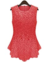 OFTEN Women's Sexy Chic Lace Shirt Fashion Sleeveless Blouse Tops