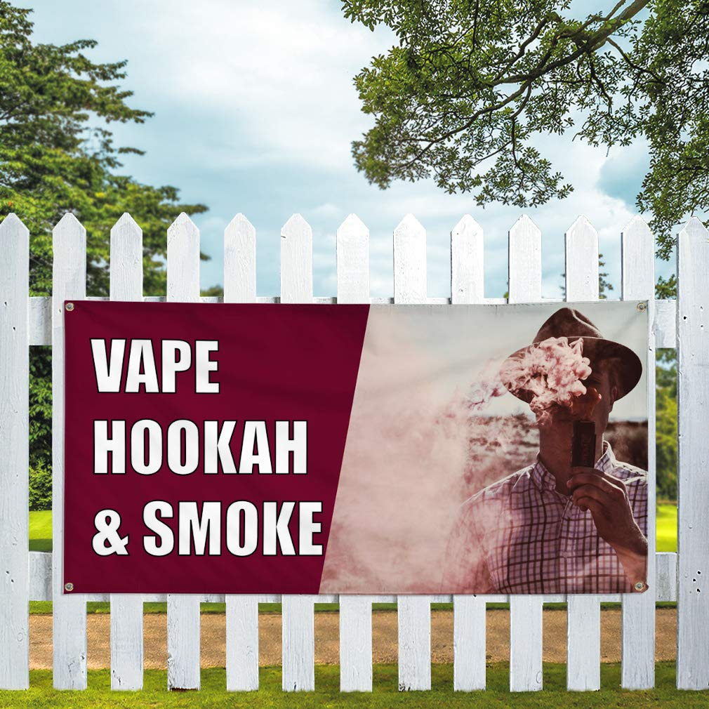 Decal Sticker Multiple Sizes Smoke /& Vape Shop Business Smoke Outdoor Store Sign Brown Set of 5 27inx18in