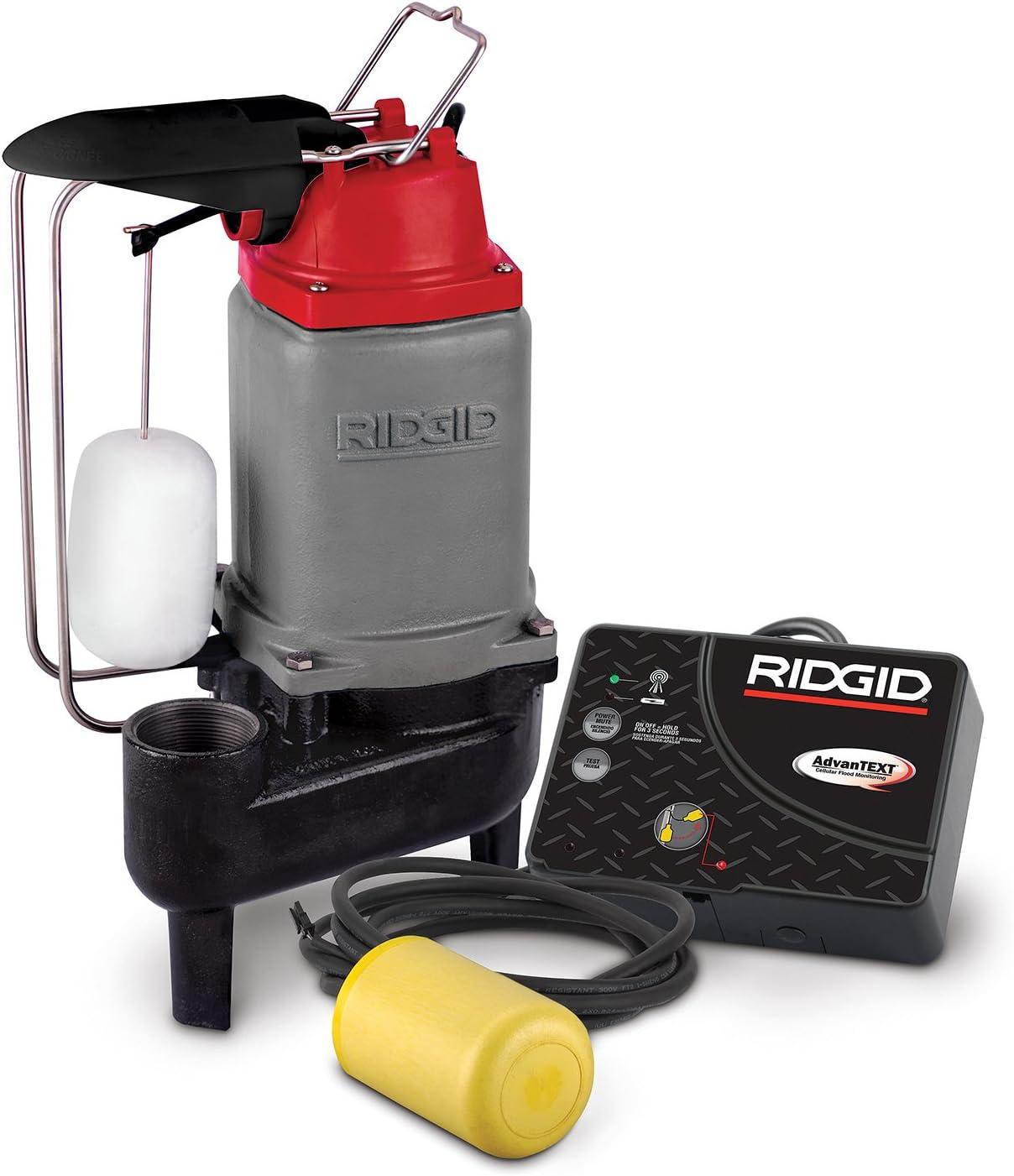 Ridgid 47288 RW50AT 1/2 HP Sewage Pump System with Advanced Cellular Flood Monitoring