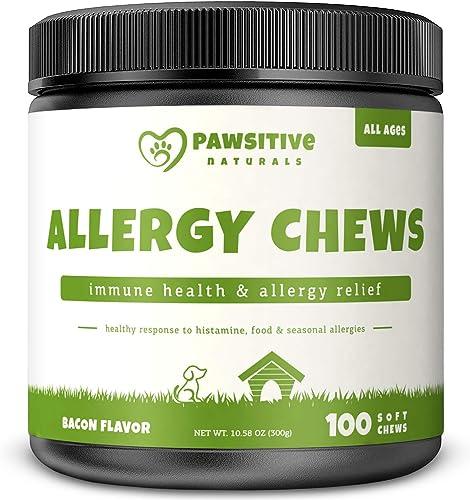 Allergy Immune Supplement for Dogs – 100 Soft Chew Bites – Omega 3 Salmon Fish Oil, Colostrum, Digestive Prebiotics Probiotics for Seasonal Allergies, Immunity, Anti Itch Skin Hot Spots