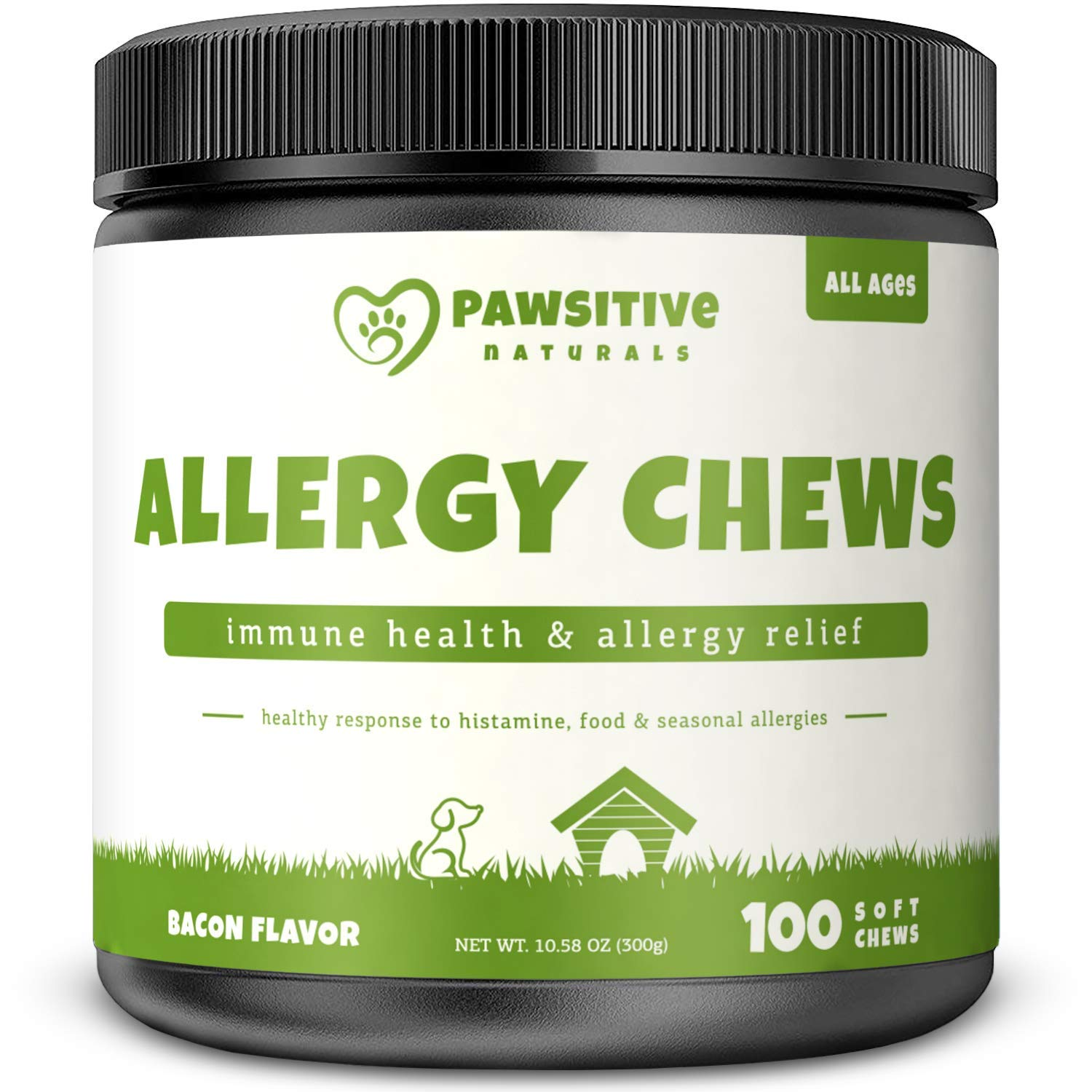 Allergy Immune Supplement for Dogs - 100 Soft Chew Bites - Omega 3 Salmon Fish Oil, Colostrum, Digestive Prebiotics & Probiotics for Seasonal Allergies, Immunity, Anti Itch & Skin Hot Spots by Pawsitive Naturals