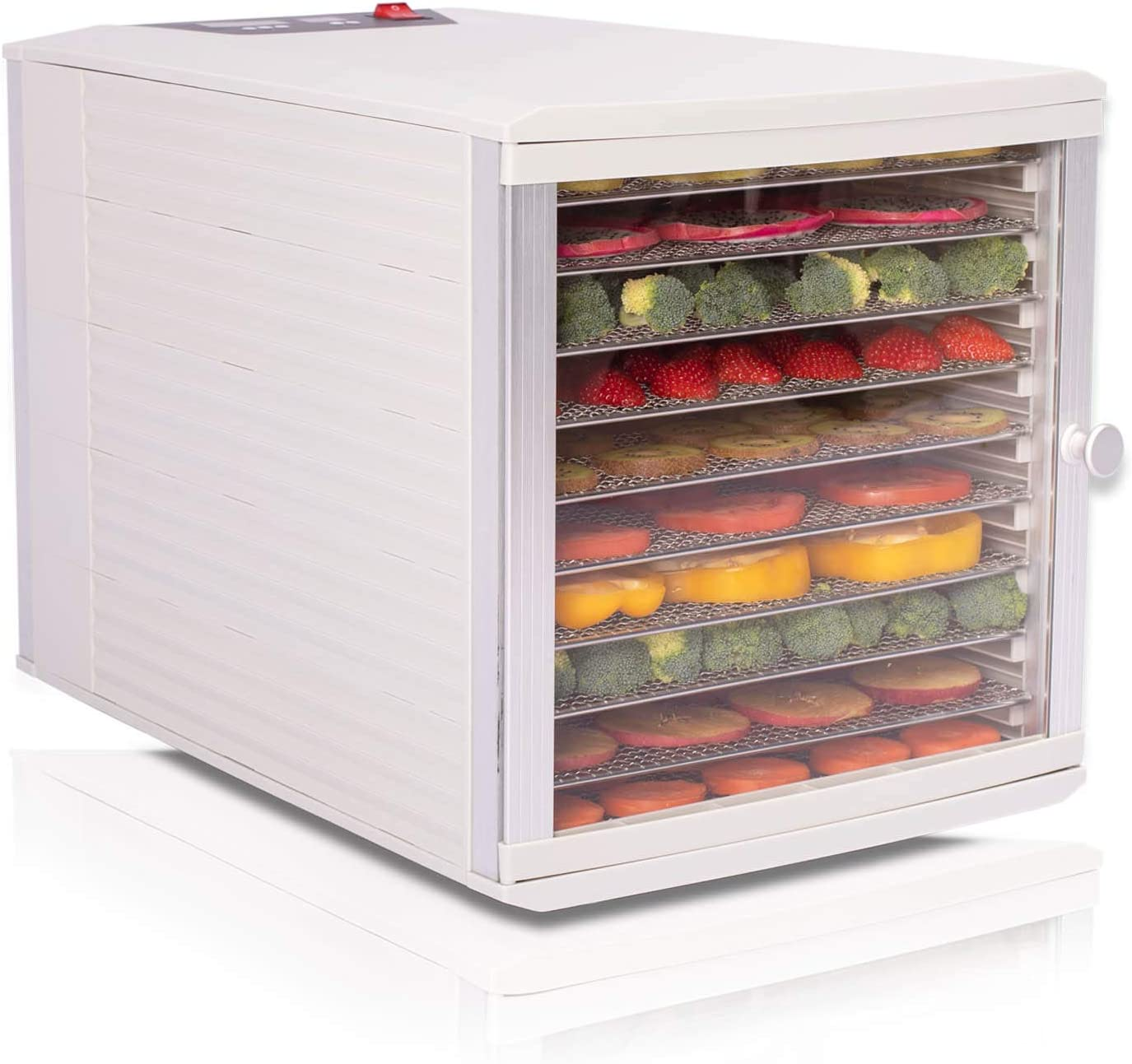 JAYETEC Food Dehydrators, 10 Trays staniless steel trays with digital adjustable,temperature and timer controlling, vegetable, fruit, jerky,beef, herb dehydrator, yogurt maker, double over heat protection, transparent door & Grey, including 2pcs non-stick sheets