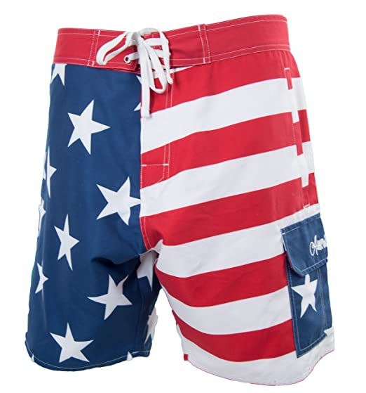 0d7fd33c1f Calhoun Men's USA Stars Stripes Boardshorts - Red, White, Blue (X ...