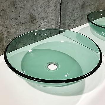 Qierao Modern Glass Vessel Sink Above Counter Bathroom Vanity Basin