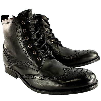 c09c4310ce06 Hudson Mens H Angus Brogue Leather Lace up Smart Ankle Boots - Black - 13