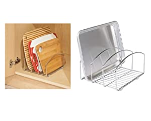 iDesign Classico Kitchen Cookware Organizer for Cutting Boards and Cookie/Baking Sheets - Chrome