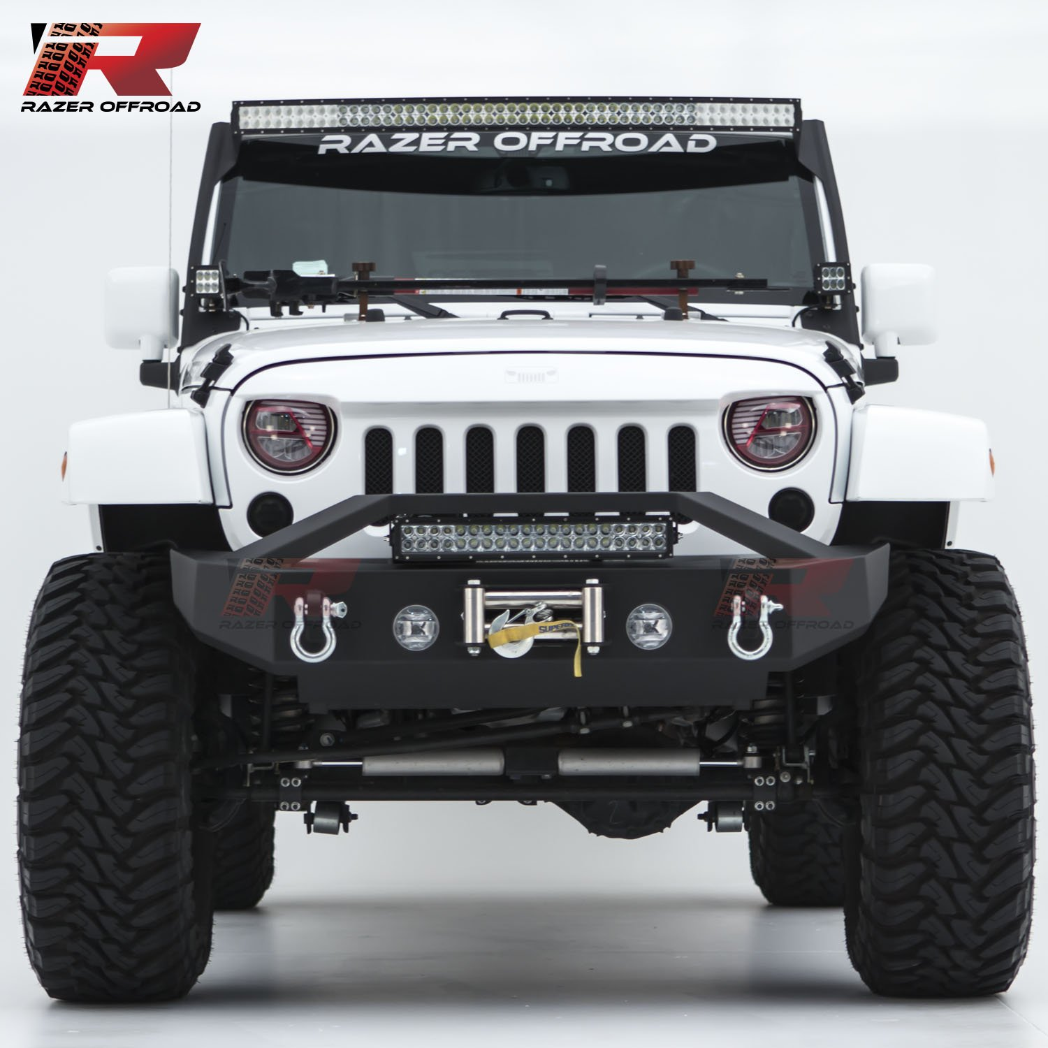 for 07-17 Jeep Wrangler JK Black 2x D-Ring and 21 LED Light bar /& Winch Mount Plate Razer Auto Black Textured Rock Crawler Stubby Front Bumper with OE Fog Light Hole