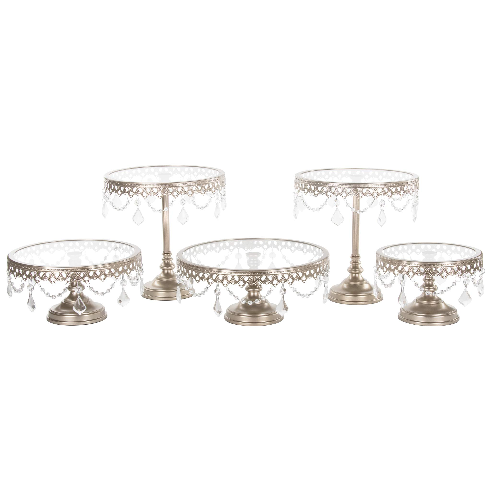 Amalfi Decor Cake Stand Set of 5 Pack, Dessert Cupcake Pastry Candy Cookie Display for Wedding Event Birthday Party, Round Metal Pedestal Holder with Glass Plates and Crystals, Champagne by Amalfi Décor