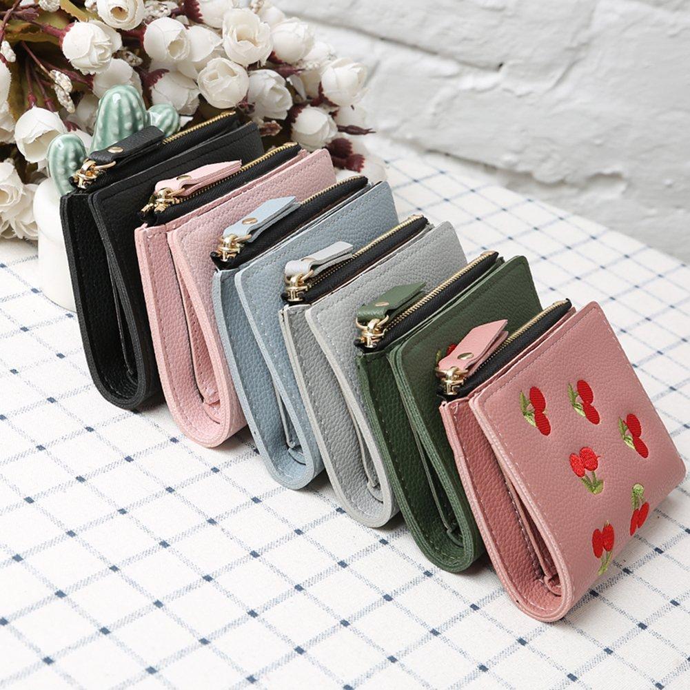 Finance Plan Cherry Embroidered Fashion Card Holder,Coin Purse,Women Short Bifold Wallet