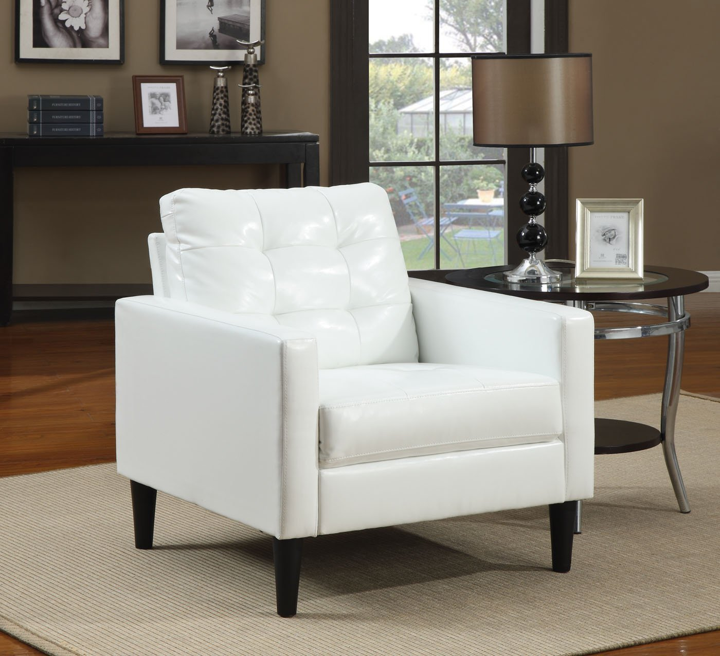 ACME Balin White Faux Leather Accent Chair - Balin collection accent chair Made of polyurethane, foam, solid wood, ply Some assembly may be required - living-room-furniture, living-room, accent-chairs - 71VU3 NW04L -