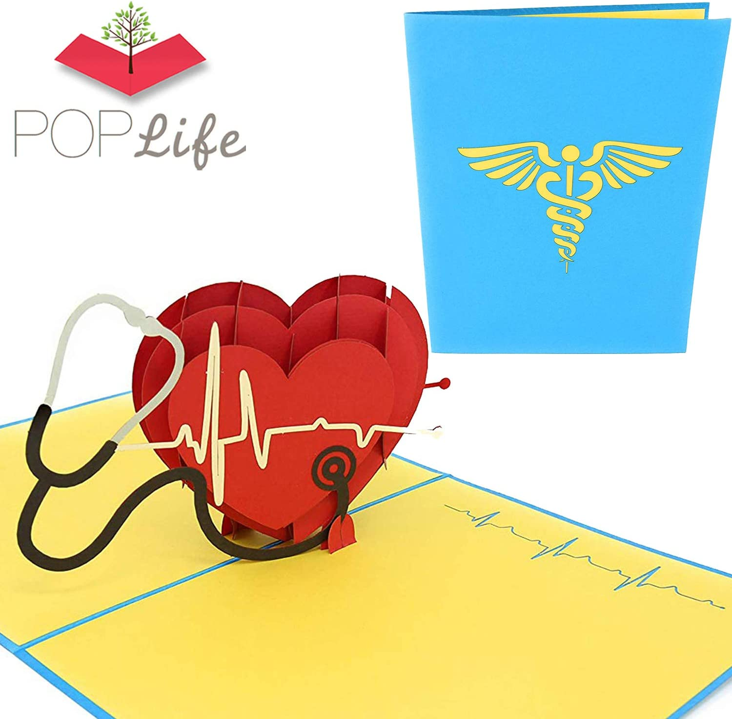 PopLife Healthcare Heart 3D Pop Up Card, for Doctors, Nurses, EMTs, Essential Medical Staff - Hospital Thank You Note - Pop Up Valentines Card - Anniversary Pop Up Mother's Day Card, Happy Birthday