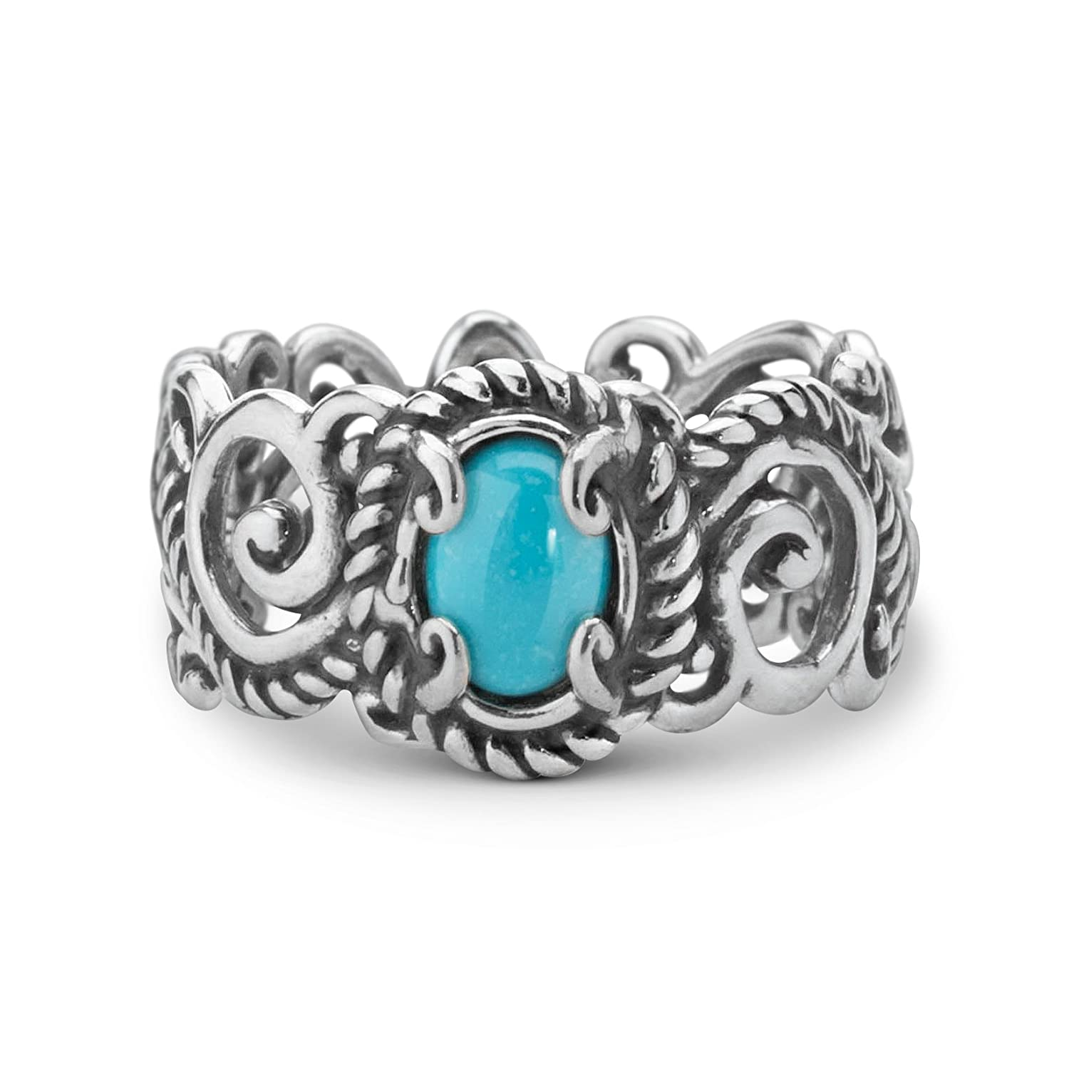 925 Silver SZ 5 thru 10 Gemstone Turquoise or Opal Band Ring Choice of 2 Colors Relios