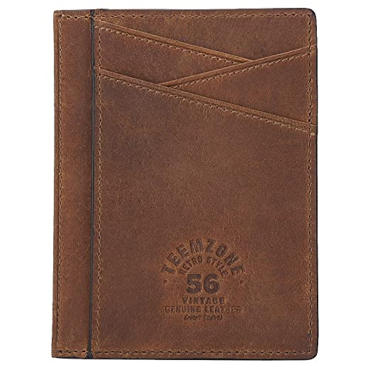376d6ae478c9 Teemzone Minimalist RFID Mens Slim Wallet Genuine Leather Pocket Credit  Card Case Holder