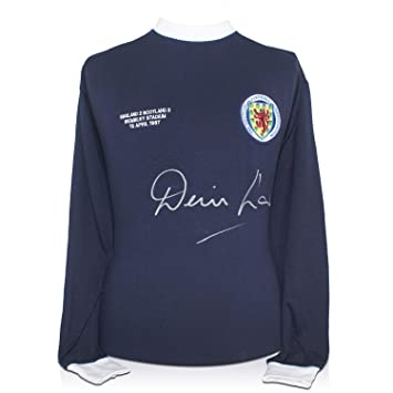 exclusivememorabilia.com Camiseta de fútbol de Escocia firmada por Denis Law