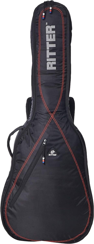 Ritter RGP2-C/BRD - Funda/estuche para guitarra clasica 4/4 con tejido repelente al agua, color negro con rojo