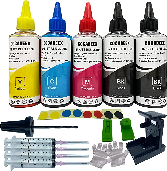 COCADEEX 500ml Ink Refill Kit Compatible with Hp Ink Cartridges 664XL 662XL 61XL 60XL 21XL 22XL 56XL 57XL 58XL 901XL 664 662 61 60 56 57 58 95 96 97 98 901