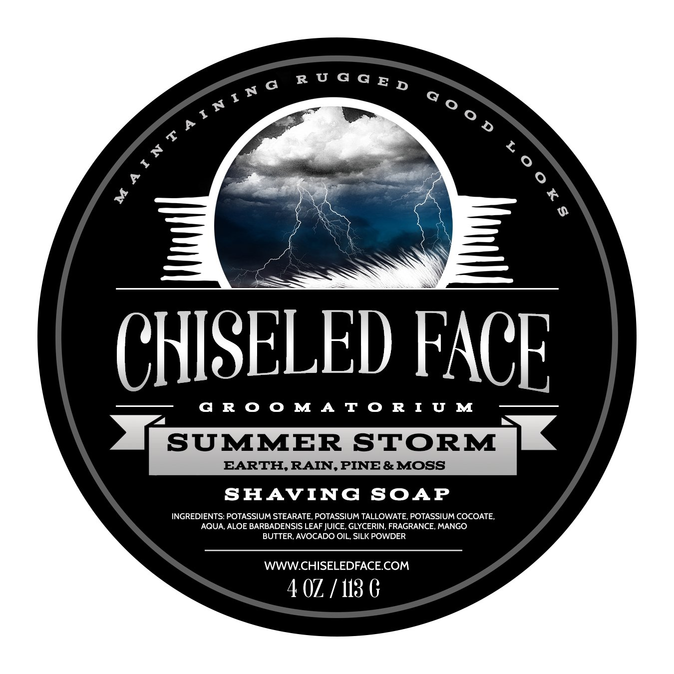 Summer Storm by Chiseled Face — Handmade Luxury Shaving Soap — Rich, Thick Lather — Smooth, Comfortable Shaves — Tallow-Based Soap — Made in the USA