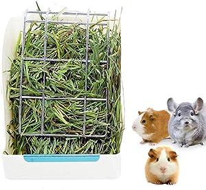 Rabbit Feeder Bunny Guinea Pig Hay Feeder,Hay Guinea Pig Hay Feeder,Chinchilla Plastic Food Bowl (White)