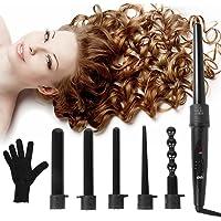 Duomishu 6-in-1 Hair Curling Wand & Curling Iron Set (Black)