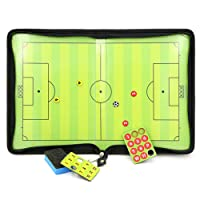 BTSKY Football /Soccer Coach Magnetic Board Winning Strategy Board with Zipper, Perfect Leather Soccer Tactics Board for Coaches, Players (No Marker Pen)