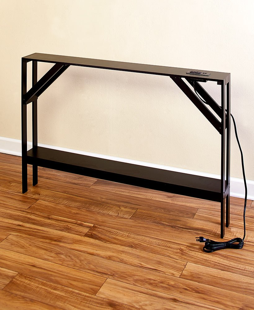 The Lakeside Collection Skinny Sofa Table with Outlet - Black