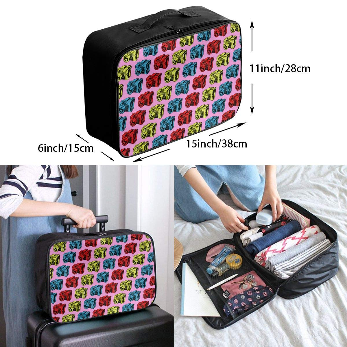 YueLJB Vintage Camera Pop Art Lightweight Large Capacity Portable Luggage Bag Travel Duffel Bag Storage Carry Luggage Duffle Tote Bag