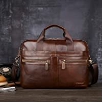 Cocity Genuine Leather Briefcase, Buseness Premium Waxed Cowhide Leather Laptop Briefcase Business Messenger Bag Vintage Laptop Handbags Shoulder Bags File Document Bags
