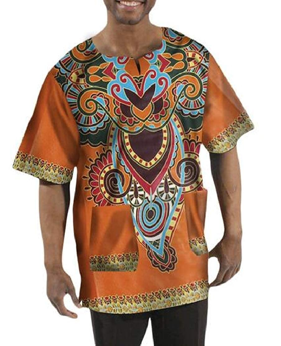 Jotebriyo Mens Crew Neck African Print Dashiki Short Sleeve T Shirts Tee