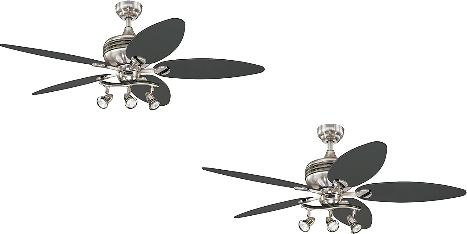 Westinghouse Xavier II 52-Inch Five-Blade Indoor Ceiling Fan with Three Spot Lights, Brushed Nickel with Gun Metal Accents Brushed Nickel W Gun Metal 2 Pack