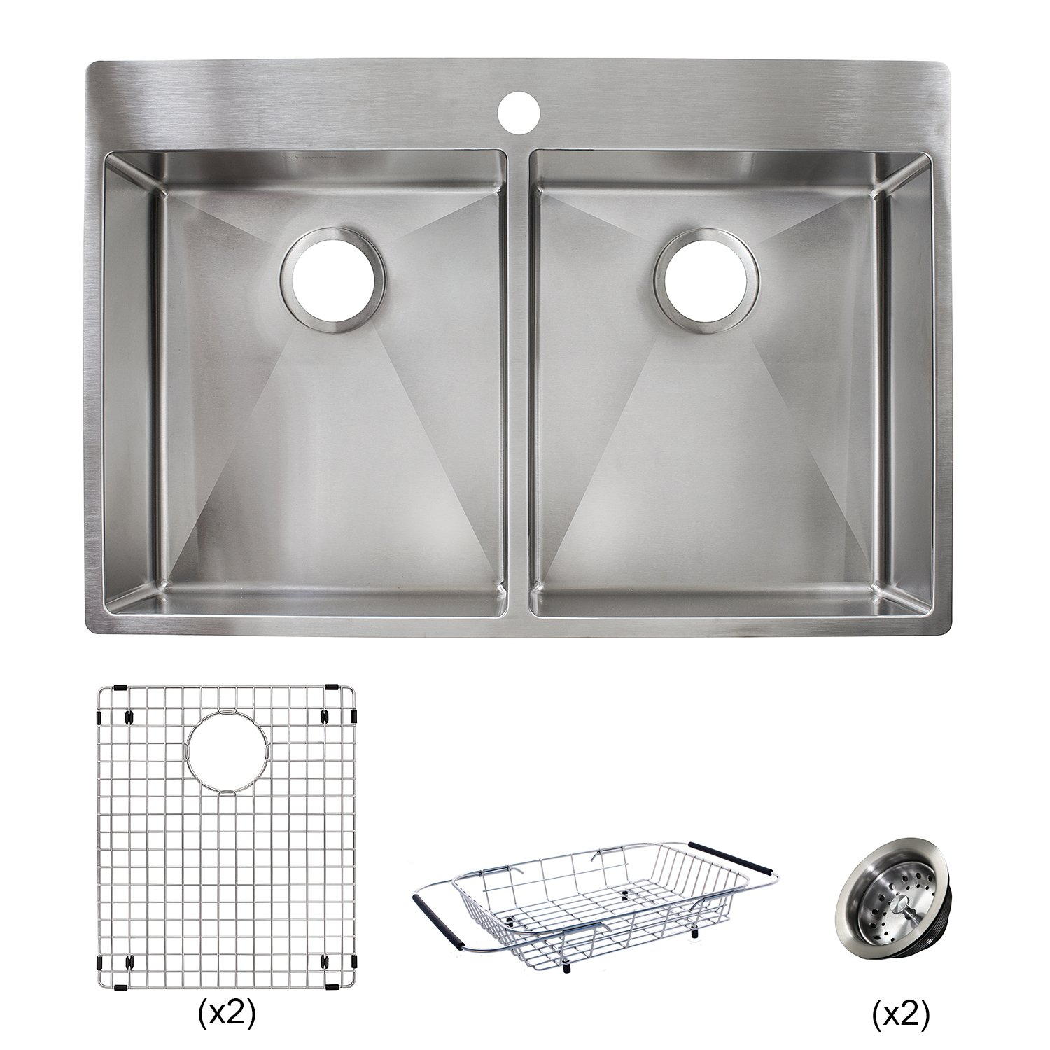 Franke HF3322-1KIT Vector 33.5 inch (33 inch) Handmade Dual Mount Double Bowl deep Kitchen Sink Kit, Stainless Steel by Franke (Image #6)