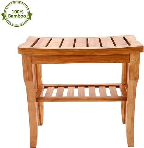 Leoneva 2 Tier Bathroom Bamboo-Made Shower Seat Bench, Storage Plant Shelf, SPA Organizer Stool for Indoor Outdoor, 220lbs Capacity
