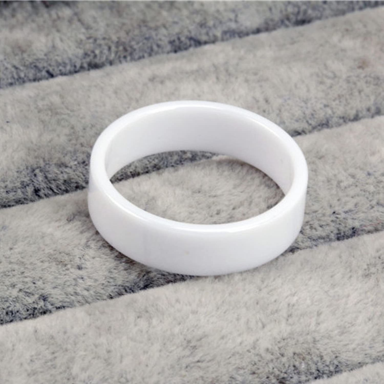 AMDXD Ceramics Mens Rings Smooth Wedding Ring Wedding Band Rings White Size 8